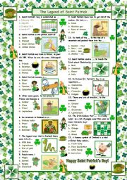 English Worksheets: The Legend of Saint Patrick (with answers)