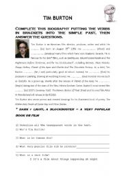 English Worksheets: Tim Burton�s biography (1)