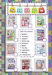 English Worksheet: shops pictionary