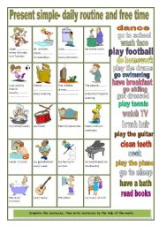 English Worksheets: Daily routine- free time activities