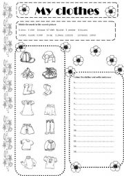 English Worksheet: My clothes