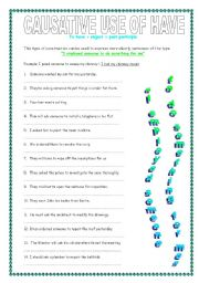 English Worksheet: Causative use of have