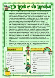 English Worksheet: The Legend of the Leprechaun (B/W + key included)