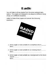 English Worksheets: Radio Jingle Questions