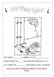 English Worksheet: INCY WINCY SPIDER LYRICS