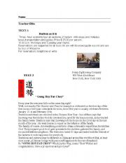English Worksheets: Readings:Harlem as it is and Gung Hoy Fat Choy""