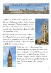 English Worksheet: Westminster Palace and Big Ben