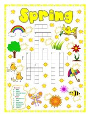 English Worksheet: SPRING PUZZLE - NUMBER THE PICTURES