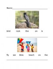 English Worksheets: Sentence order with pictures