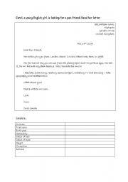 English Worksheets: find information in a letter