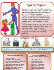 English Worksheets: Pippa the puppeteer