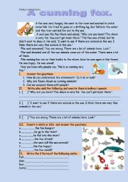 English Worksheets: A cunning fox. Reading-comprehension