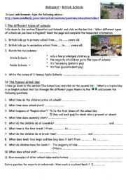 English Worksheet: British Schools