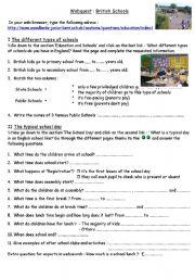 English Worksheets: British Schools