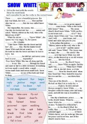 Snow White and Past Simple Worksheet (2 pages) Fill in, make questions and negatives