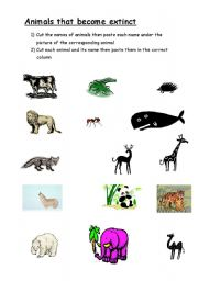 English Worksheets: ANIMALS THAT BECOME EXTINCT