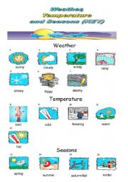 English Worksheet: Weather, Temperature and Seasons Pictionary
