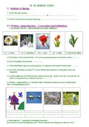 English Worksheets: It is Springtime !- Two  pages