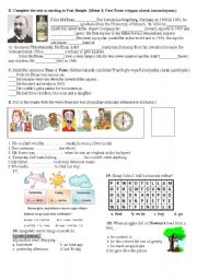 English Worksheet: 7th grade 2nd term 1st exam(part 2 of 2)