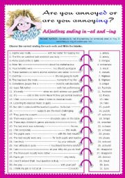 English Worksheets: Adjectives ending in -ed and -ing
