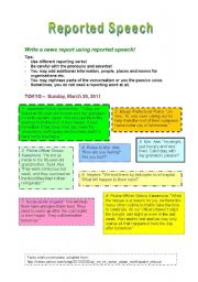 English Worksheet: Using Reported Speech - Writing a Report about the Earthquake in Japan