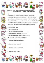 English Worksheet: Hello Kitty�s Daily Routines
