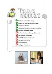 picture about Table Manners for Kids Printable named Desk manners worksheets