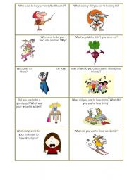English Worksheet: Used to do smth about Childhood speaking cards set 2