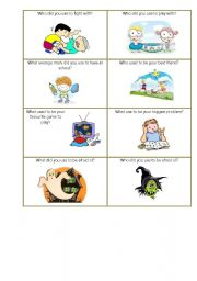 English Worksheet: Used to do smth about Childhood speaking cards set 3