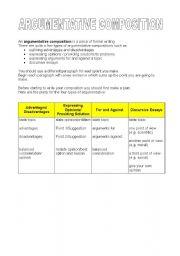 English Worksheets: THE ARGUMENTATIVE COMPOSITION