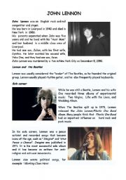 English Worksheet: Imagine and John Lennon