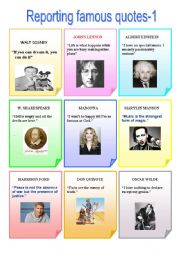 English Worksheet: Reporting famous quotes-1