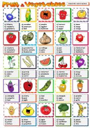English Worksheet: Fruit & vegetables - multiple choice (B&W included)