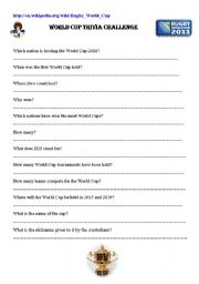 English Worksheet: Rugby world cup
