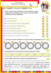 English Worksheet: Daily Routines - Listening