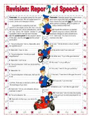 English Worksheet: Reported Speech  revision  1/3 - Key included