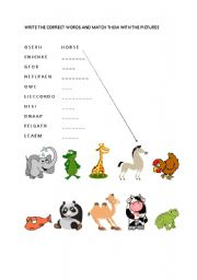English Worksheets: There are two activities related to animals in it.