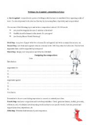 English Worksheets: Writing a for and against composition in 5 steps