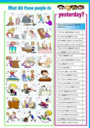 English Worksheets: What did these people do yesterday?