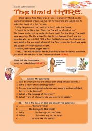 English Worksheets: The timid hare. READING -COMPREHENSION with exercises