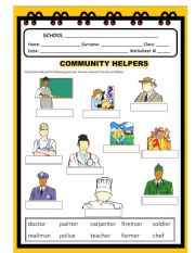 English Worksheet: Community Helpers Act.#1