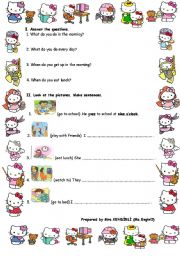 English Worksheets: Daily routines with Wh questions