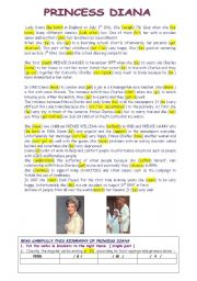 PRINCESS DIANA a biography  / USE of Simple PAST