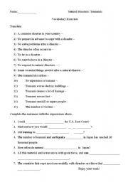 Tsunamis Worksheets
