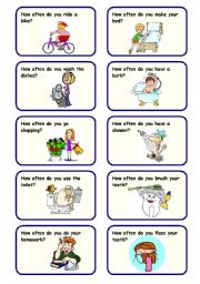 English Worksheets: HOW OFTEN DO YOU...? - 20 SPEAKING CARDS ON FREQUENCY ADVERBS