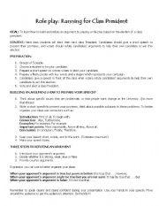 Printables Roles Of The President Worksheet english worksheet running for class president