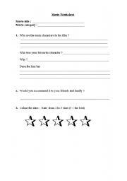 English Worksheets: movie worksheet