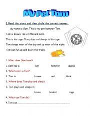 English Worksheets: My Pet Tom
