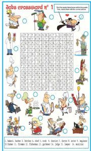 English Worksheet: Jobs wordsearch N�1