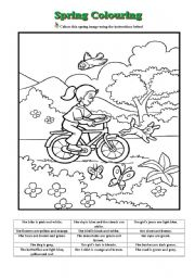 english worksheets spring coloring - Spring Pictures To Colour